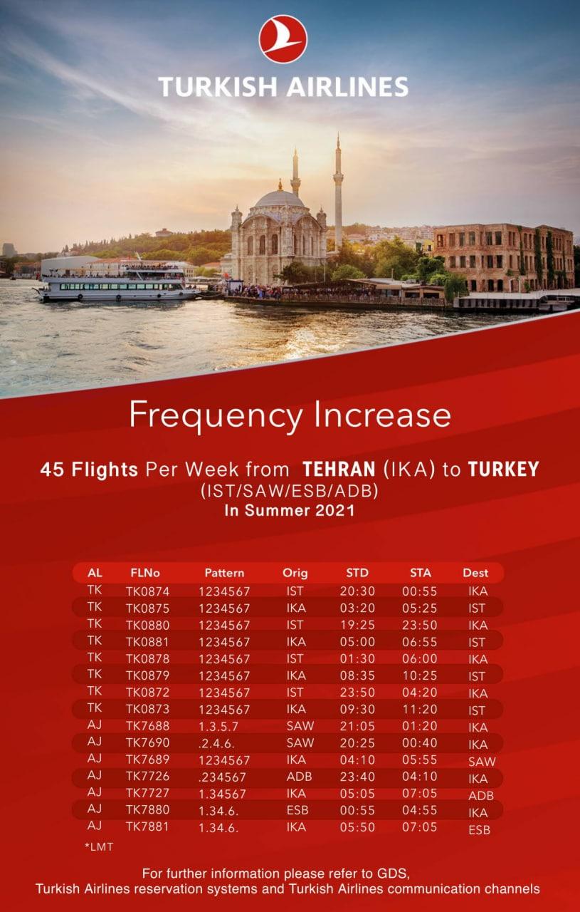 افزایش پروازهای ترکیش به تهران